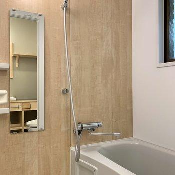 鏡と大きめのシャワーヘッドは嬉しいポイント。
