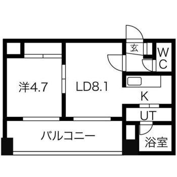 生活のしやすい1LDKのお部屋です。