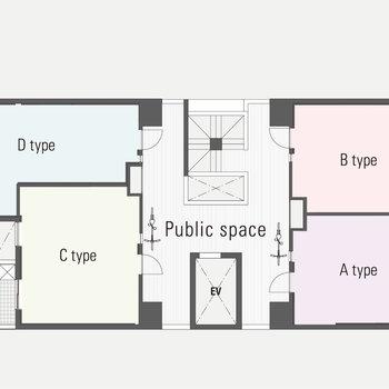 【共用部図面】2階から上は居住スペース、広い廊下が嬉しいですね