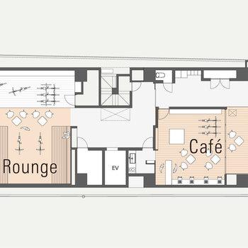 【共用部図面】1階はラウンジやカフェがあります