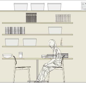 【イメージ】diy壁には、棚や自転車をかけるフックなど自由に設置することができます