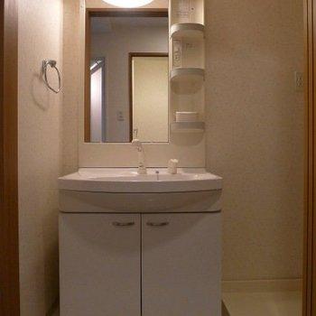 引戸を開けると洗面台が現れます。(※写真は7階の同間取り別部屋のものです)