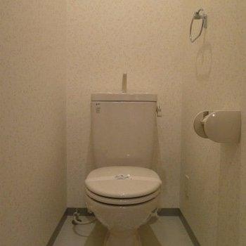 タオル掛けがあるのは嬉しいですね。(※写真は7階の同間取り別部屋のもの、実際は温水洗浄便座付きです)