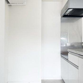 大きめの冷蔵庫も置くことができそう◯