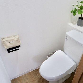 温水洗浄付きのトイレ。
