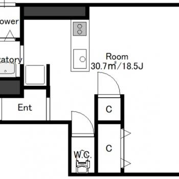 広々としたワンルーム。2人入居も可能です。