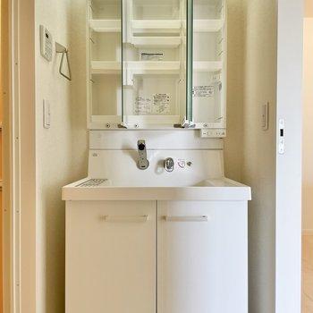 その向かいに洗面台です。三面鏡の裏には収納がいっぱい!