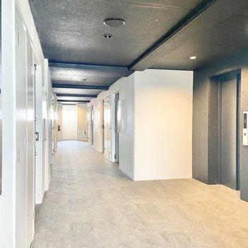 共用部は広さがあります。エレベーターから近い角部屋で、玄関前の人の往来も少なくて済みます。