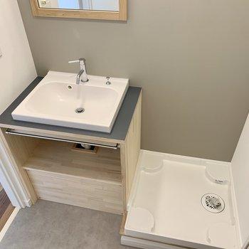 洗面台も高級感のある人工大理石調です。