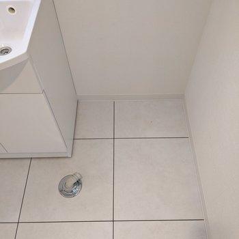 洗面台の横に洗濯機置き場があります。