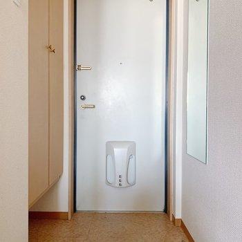 玄関はそこそこの広さが。3足くらいは出しておけそうです。(※写真は3階の反転間取り別部屋、清掃前のものです)