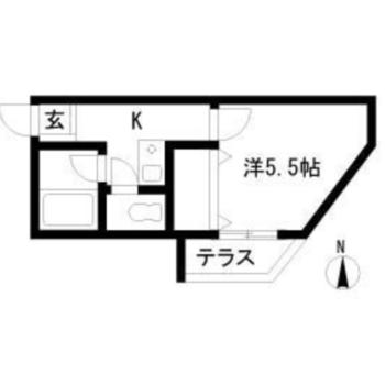台形の居室が特徴的な1Kです。