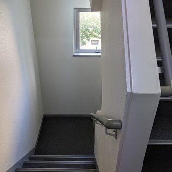 階段の踊り場部分に窓があるので明るいです。