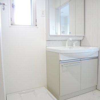 脱衣所はクローゼットのお隣に。大きな鏡付きの洗面台が嬉しいなぁ〜(※写真は9階の同間取り別部屋のものです)