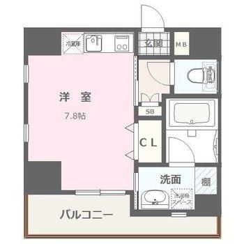 居室から水まわりなどにアクセス可能な、ぎゅっとまとまった間取り。