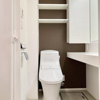 同室にトイレがあり、上部に洗剤などをしまっておけます。