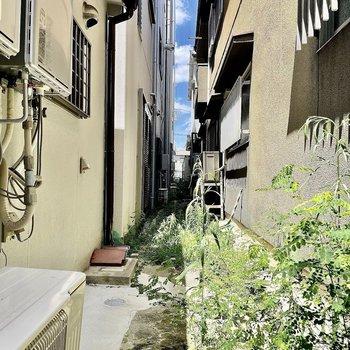 【左側】サンルームから出るとご近所さんと共有の小道があります。