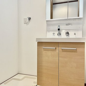 収納も付いている洗面台の鏡は・・