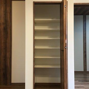 キッチン横にちょうどいい感じの収納棚。食器棚やタオルの収納に良さそう(※写真は2階の同間取り別部屋のものです)