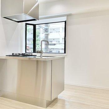 【DK】ステンレス製のクールなキッチン!銀色が輝いてます。