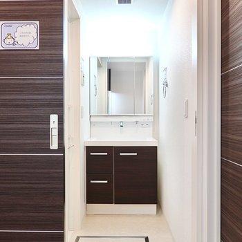 【脱衣所】冷蔵庫置き場の対面側に。スペースたっぷりで、大きな鏡の洗面台も。 ※写真は6階の似た間取り別部屋のもの