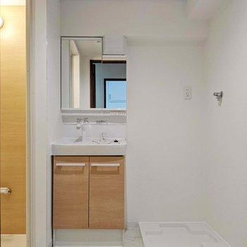 脱衣所は廊下を挟んで洋室の向かいに。