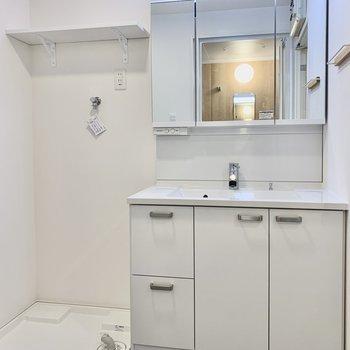 洗面台はシャワー付きの大きなものを。鏡の裏は収納で見た目もスッキリ!