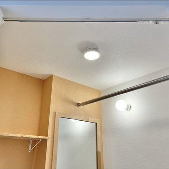 目隠し用のカーテンレールや洗剤などがおける棚もあります!