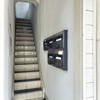 郵便受けは階段の下に。