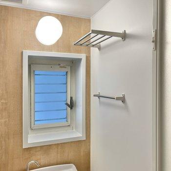 棚やタオルかけ、窓もありますよ。