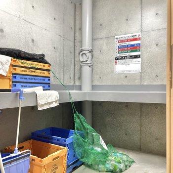 ゴミ捨て場は建物裏手にあります。