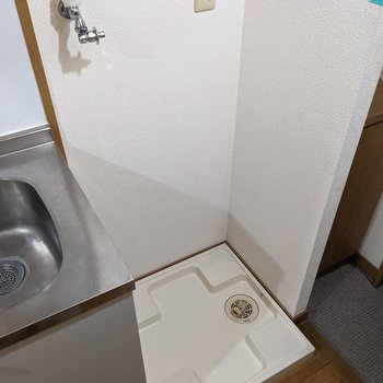 洗濯機置場。入り口からは見えないつくりになっています。