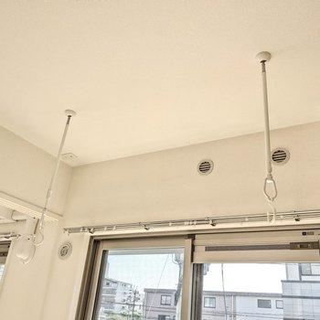 着脱できる室内物干し。こちらにもエアコンを設置すると早く乾きそう。