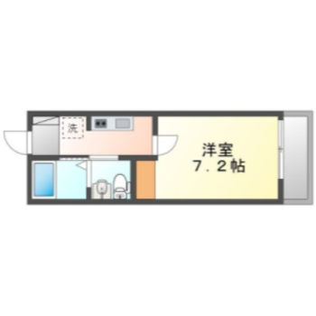 洋室7.2帖、キッチン3帖の1kのお部屋。