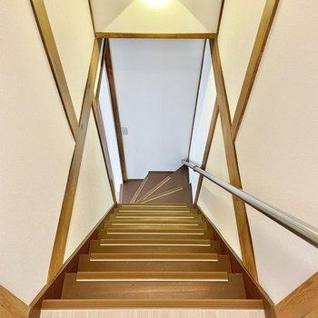 【2階】では1階へ!急なのでご注意を。