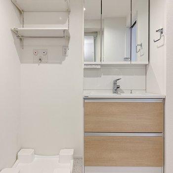 洗面台と洗濯機置場は隣同士。収納もそれぞれ充実してますね。