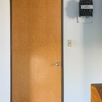 玄関ドアを外側から見るとブラウンです。