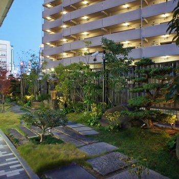 共用部】庭園はキレイに手入れがされています。