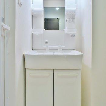 洗面台はシャンプードレッサー。(※写真は3階の同間取り別部屋のものです)