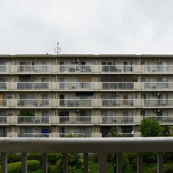 正面からの眺望、向かいには建物があります。(玄関横の和室)