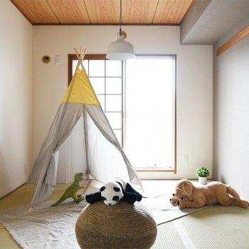 【リビング隣の和室】こちらは子供部屋の雰囲気にしてみました。