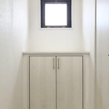 トイレを出てすぐにはカウンター棚があります。(※写真はクリーニング前のものです)