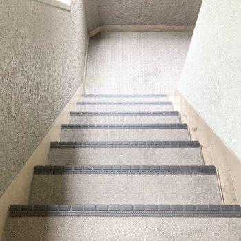 部屋の前の階段。大きな荷物を搬入する際はサイズ測定をしましょう。