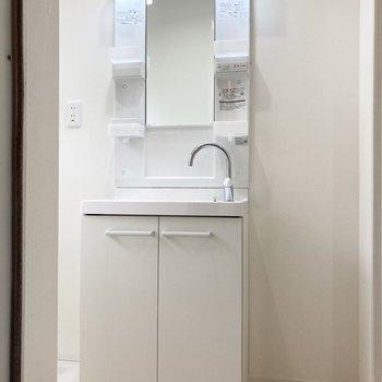 入り口すぐにある洗面台。右のスペースも収納に活用できそうですね。