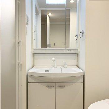 振り返って水回りへ。洗面・脱衣・トイレがひとつのスペースに。 ※写真は6階の反転間取り別部屋のもの