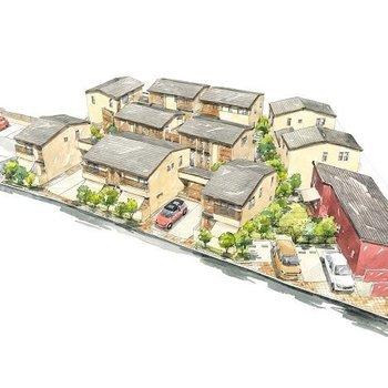 【スケッチ】すべての住戸がプライベートな空間を確保できるよう設計されています。