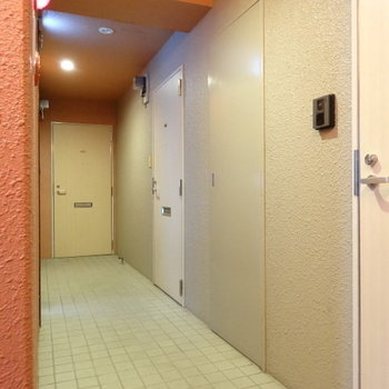 共用廊下は少し狭め