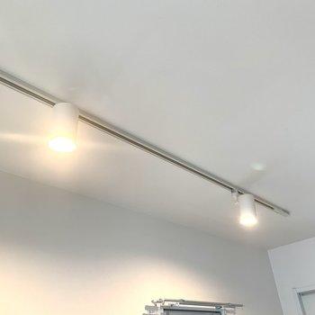 天井にはライティングレール。夜はムーディーに眠りましょう。