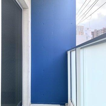 ベランダには差し色にブルーの塗装が。