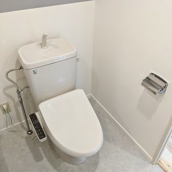 トイレはウォシュレットつき。グレーが入ると清潔感も増して見える気が。